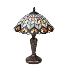 Design Toscano KY485 Tiffany-style Peacock Stained Glass Lamp