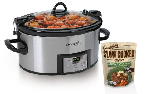 Crock-Pot SCCPVL610-S 6-Quart Programmable Cook and Carry Oval Slow Cooker, Includes One Bonus Campbell's Slow Cooker Sauce (Crockpot Sauces compare prices)