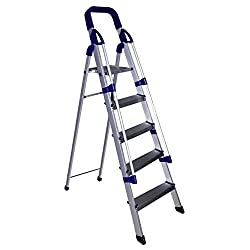 Glow Plast Folding Aluminium Ladder with Railings - Home Pro 5 Steps With 7 Years Warranty