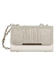 Newtronics Women's Sling bag white-silver-glitter-bag