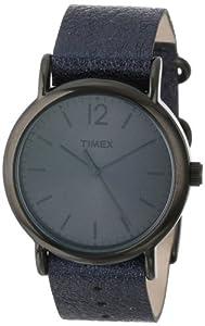 Timex Women's T2P3379J Weekender Metallic Black Slip-Thru Leather Strap Watch