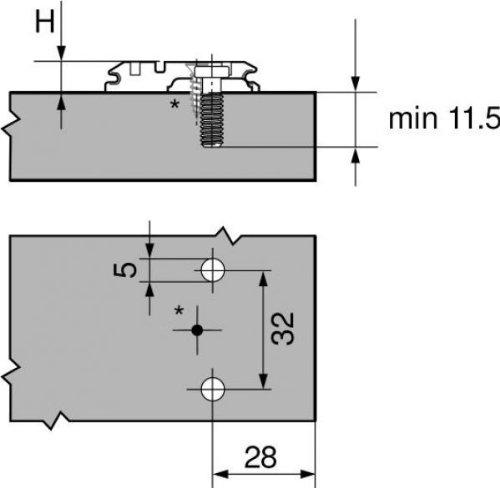 Ikea Variera Waste Sorting Bin ~ CLIP Montageplatte, (28 32 Mm), 0 Mm, Stahl, Vormontierte