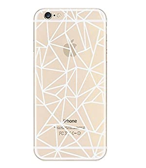 iPhone 7 , Colorful Rubber Flexible Silicone Case Bumper for Apple Clear Cover - Abstraction Outline White Transparent
