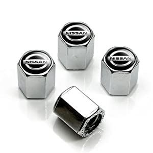 41FxxvRdYNL. SL500 AA300  Nissan Silver Logo Chrome Tire Stem Valve Caps
