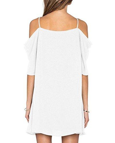 Womens Chiffon Cut Out Cold Shoulder Spaghetti Strap Mini Dress Top, White, Large