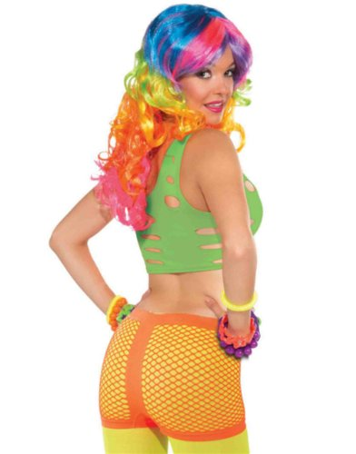 Womens Sexy Orange Club Candy Costume Tanga Fishnet Hot Pants Boy Shorts