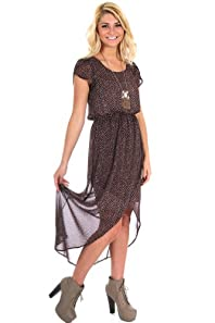 Peaches N Cream Lined Long Dotted Dress in Dark Purple