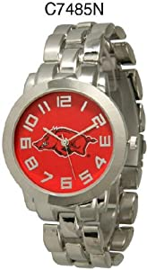 NCAA Officially Licensed Arkansas Razorbacks Mens Metal Round-faced Wristband Watch by Time World