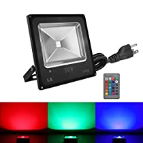 LE 50W Waterproof RGB LED Flood Light, Dimmable, 16 Colors Change, 4 Modes, Remote Control, Spotlight, Wall Washer, for Outdoor, Indoor, Garden, Yard, Party, etc.