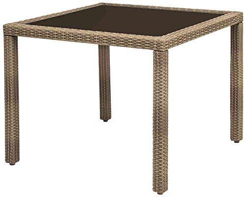 Siena Garden 989622 Tisch Bern, 90x90cm Aluminium-Gestell Gardino®-Geflecht sand Glasplatte mocca online kaufen