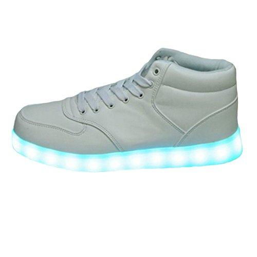 SAGUARO-7-Colores-Altas-Top-USB-Carga-LED-Luz-Glow-Luminosos-Light-Up-Flashing-Sneakers-Zapatos-Deportivos-de-la-Zapatillas-de-Deporte-Blanco