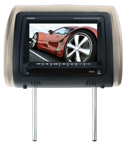 BOSS AUDIO HIR7BGTM 7 inch Widescreen Single Universal Headrest Monitor, Wireless Remote, includes Black, Gray, Tan interchangeable skins
