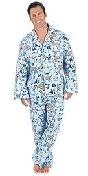 Blue Cotton Flannel Dog Tired Pajamas for Men, Medium