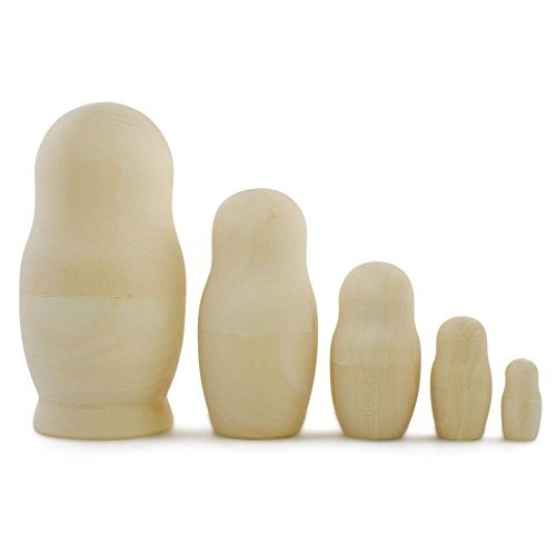"5.75"" DIY Craft Set of 5 Unpainted Wooden Blank Russian Nesting Dolls"