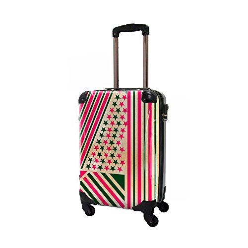 CARART(キャラート) アート スーツケース ポップニズム アメリカン (グリーン×ピンク) ジッパー4輪 機内持込 CRA02-014A