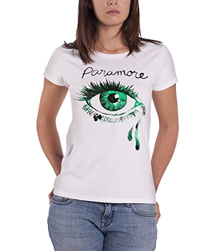 Paramore Crying Eye Official Womens New White Skinny Fit T Shirt