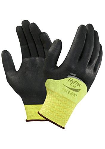 Ansell HyFlex 11-402 Guanti per usi multipli, protezione meccanico, colore: nero (Confezione da 12 paia), 11, nero, 12