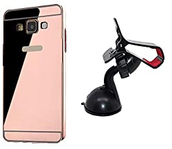Novo Style Back Cover Case with Bumper Frame Case for SamsungGalaxyJ1 Ace Rose Gold + Car Mount Cradle Holder Windshield Mobile / Gps Suction Holder Stand - Clip Type