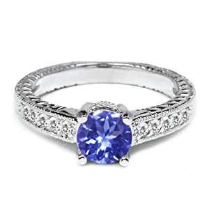 1.00 Ct Round Blue Tanzanite White Sapphire 925 Sterling Silver Engagement Ring