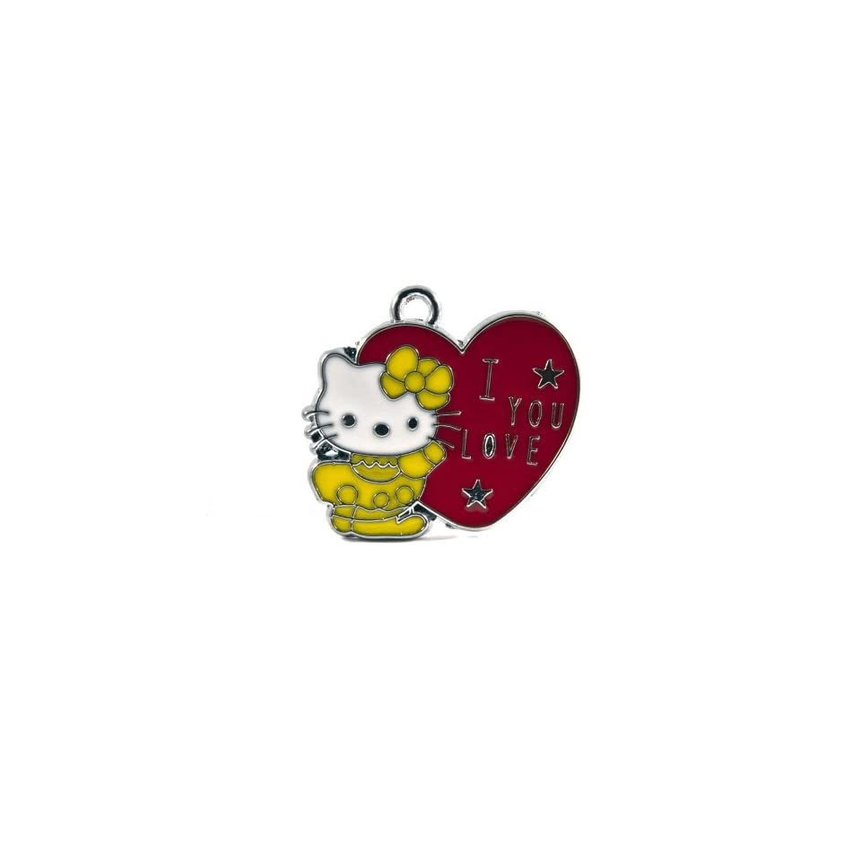 12X DIY Jewelry Making Hello Kitty Alloy Enamel Charm Pendant   I Love You Heart