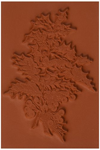 Deep Red Stamps Holly Branch Rubber Stamp