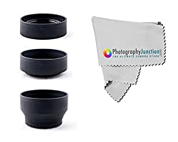 Photography Junction 55mm Collapsible Rubber Lens Hood + Free Photography Junction Premium Micro Fiber Cloth for SONY Alpha Series A99 A77 A65 A58 A57 A55 A390 A100 DSLR Cameras