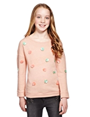 Cotton Rich Floral Corsage Sweat Top