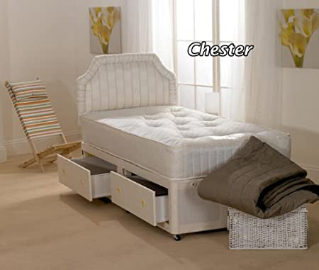 Hf4you Chester Open Spring Divan Bed - 3FT Single - 2 Storage Drawers - No Headboard by Hf4you