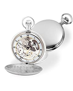 Sterling Silver Pocket Watch with Skeleton 17 Jewels Mechanical Movement- twin lidded pocket watch - with Chain, Presentation & Case and Pocket Watch Booklet.