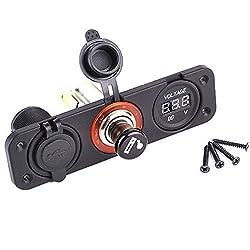 Generic Car Motorcycle Dual USB Cigarette Lighter LED Digital Voltmeter