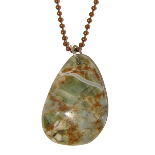 Opal Necklace 02 Chain Green Gemstone Crystal Genuine Natural Copper Healing Stone 26