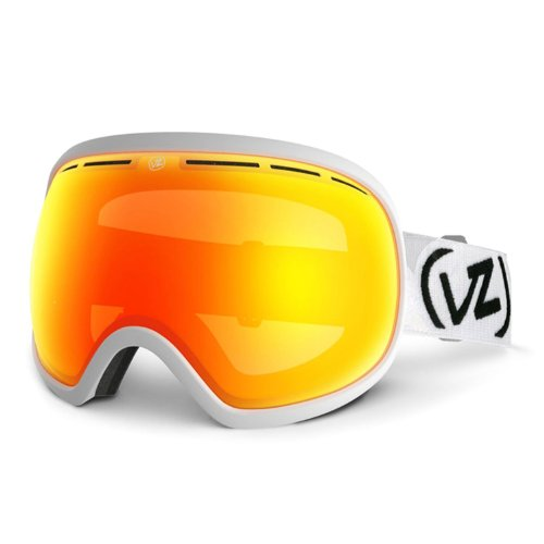 VonZipper Fishbowl Spherical Snow Goggle, White Satin/Fire Chrome