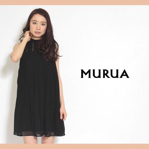 【MURUA(ムルーア)】ハイネックレース切替プリーツOP ワンピース2サイズブラック(09)