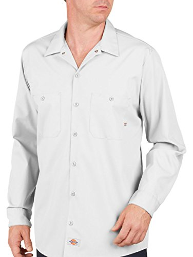Dickies occupational workwear ll535wh 2xl polyester for White cotton work shirts