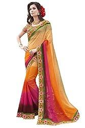 Sheknows Beige and Multicolor Chiffon Embroiderd Saree