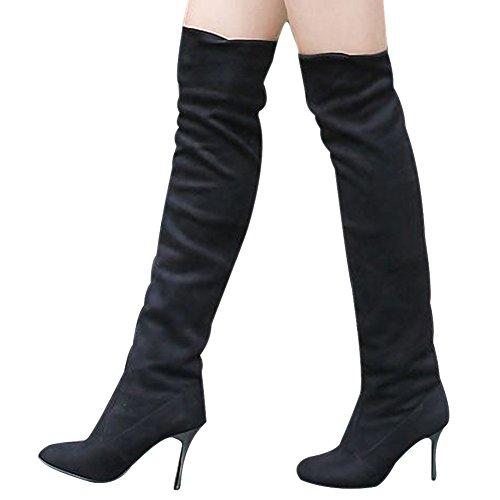 Vonfon Womens Long Over Knee High Heel Boot Shoes