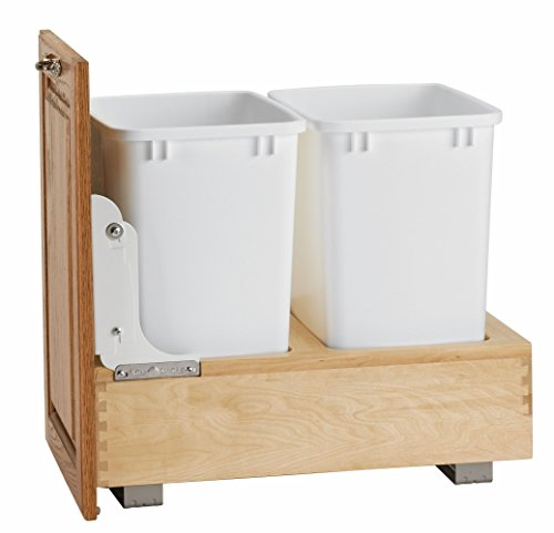 Rev-A-Shelf 4WC-18DM2 Double Pull-Out Bottom Mount Wood and White Waste Container, 35 quart, Natural (White Wood Trash Can compare prices)