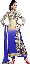 Prenea Women's Georgette Unstitched Salwar Suit Dress Material PS7 _ White & Blue