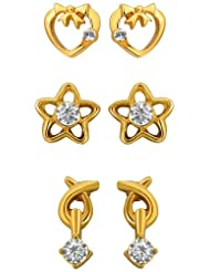 Mahi Eita Collection Combo Of Gold Plated Crystal Stones Stud Earrings For Women-CO1104001G
