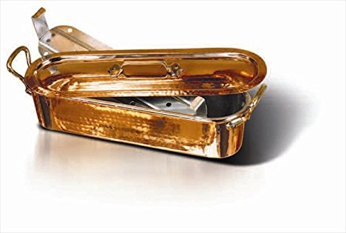 Matfer Bourgeat 032051 19.63 in. Copper Fish Poacher And Grid With Lid