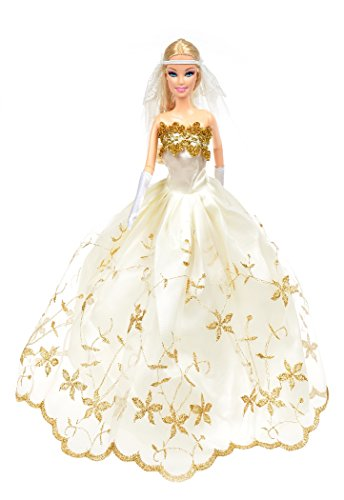 Banana Kong Doll's Gold Embroidered Wedding Gown Princess Dress + Veil + Gloves