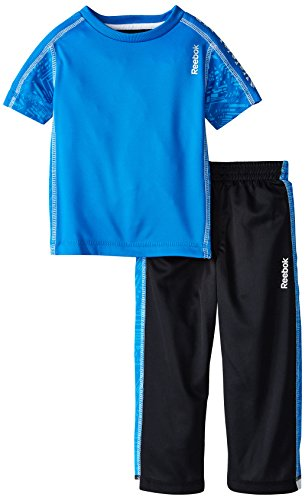 Reebok Little Boys' Linear Print Set Toddler, Cycle Blue, 4T