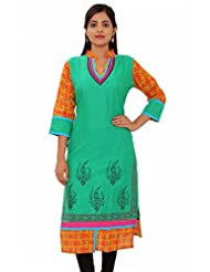 MSONS Womens Green With Embroidered Neck Multi Printed Long Rayon Kurti