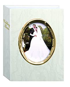 pioneer bound wedding photo album white with gold oval framed cover holds 200 4x6 pictures. Black Bedroom Furniture Sets. Home Design Ideas