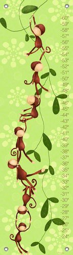 Oopsy daisy Monkeying Around Growth Chart by Meghann O'Hara, 12 by 42 Inches
