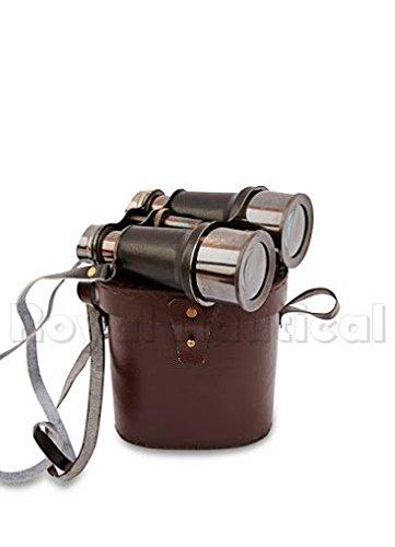 Antique Black Binocular VINTAGE Nautical Marine Spyglass Brass Binocular/Telescope with Leather case ANTIQUES 1