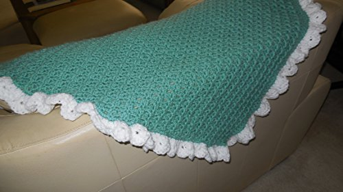 Handmade Crocheted Child'S Afghan Blanket For Stroller Crib Or Car Green With White Ruffle back-976354