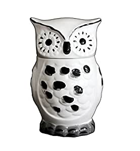 Tuscany Cute Black And White Owl Ceramic Cookie Jar 81676 By Ack