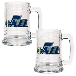 NBA Los Angeles Clippers Two Piece 15-Ounce Glass Tankard Set - Primary Logo by Great American Products