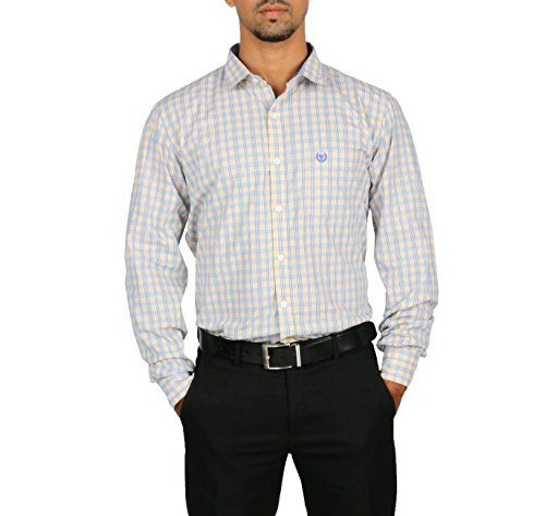 VETTORIO FRATINI By Shoppers Stop - Yarndyed Checks Shirt With Contrast Collar Band ,Sleeve Cuff And Inner Placket... - B00VV6JAO4